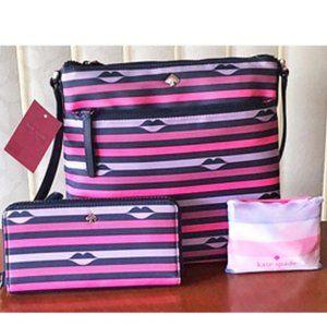 Kate Spade Jae Nylon Lip Print Bag and Wallet Set
